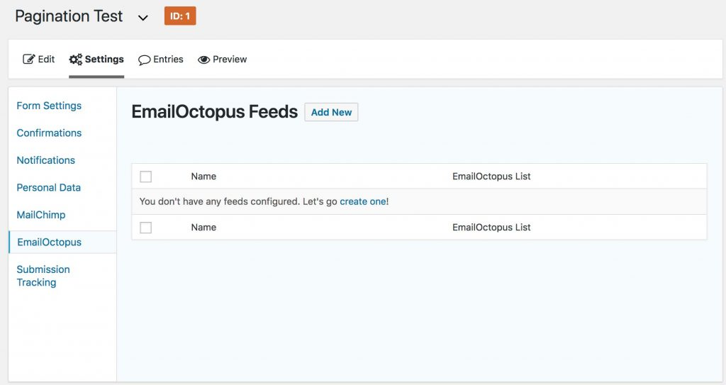 EmailOctopus Feed Screen