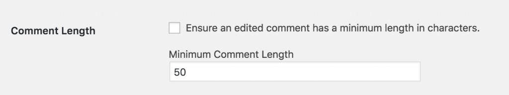 Minimum Comment Length