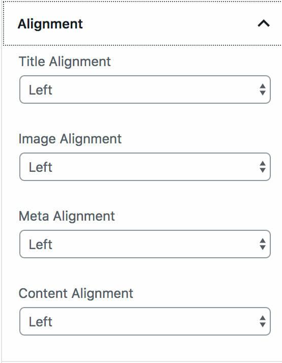 Center, left, or right align Custom Post Types Block in Grid format.