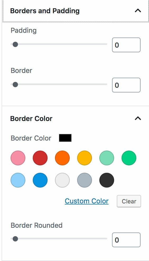 Custom Post Types Block Border, Padding, and Background Options