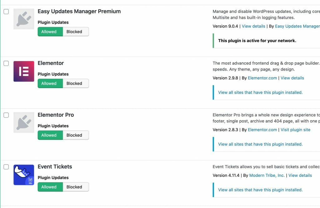 Easy Updates Manager Plugin Screen