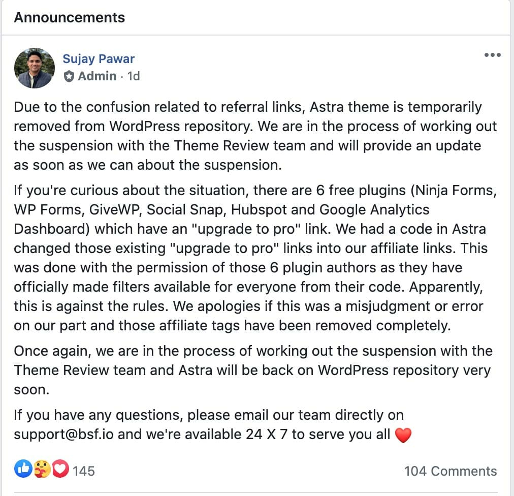 Astra FB Announcement